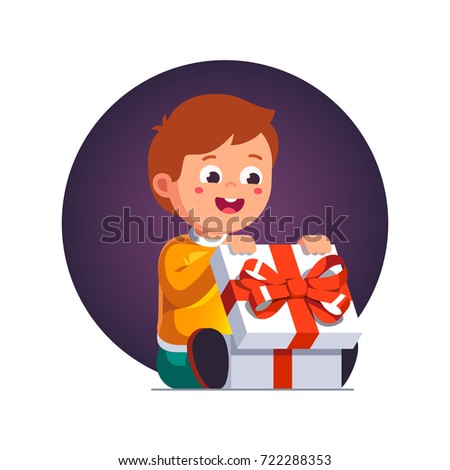 Excited Little Boy Kid Opening Big Wrapped Gift Box Decorated With Red Ribbon Bow Holiday