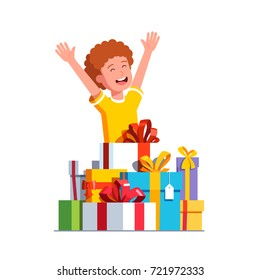 Excited little boy kid rising hands in happiness gesture after receiving big pile of presents. Wrapped ribbon bows decorated gift boxes. Lots of holiday & birthday presents. Flat vector illustration.