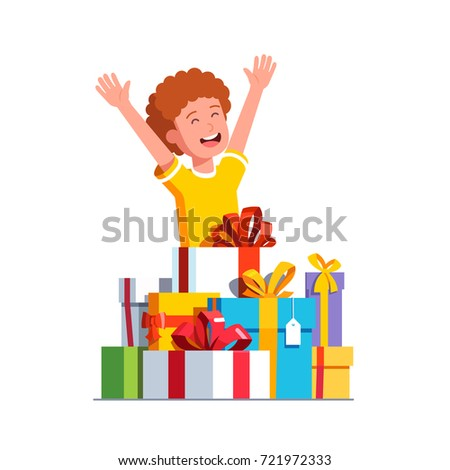 Excited Little Boy Kid Rising Hands In Happiness Gesture After Receiving Big Pile Of Presents