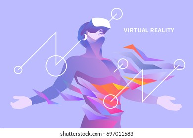 Excited man experiencing virtual reality. Vector illustration