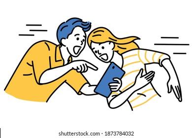 Homme excité tenant une tablette numérique, pointant vers la femme. Le couple est surpris par quelque chose de spécial à l'écran. Plan, linéaire, art en ligne mince, dessin dessiné à la main, style simple.