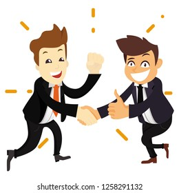 Excited man person handshaking with joy happy success win win situation leadership