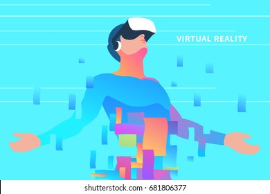 Excited man using virtual reality glasses. Vr technologies for education and games. Vector illustration