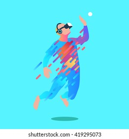 Excited man in virtual reality. Vector illustration