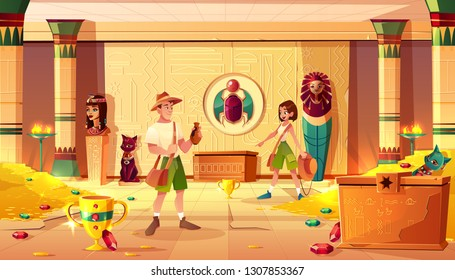 Excited man and woman archeologists or treasure hunters discovering and exploring Egypt pharaoh lost tomb or treasury full of gold coins. precious gems and ancient artifacts cartoon vector illustration