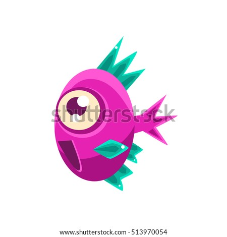 Excited Pink Fantastic Aquarium Tropical Fish With Spiky Turquoise Fins Cartoon Character