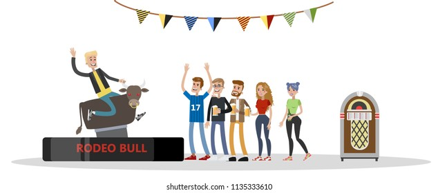 Excited young drunk man riding a mechanical bull in the bar. Friends standing around and encourage him. Entertainment and fun. Isolated vector flat illustration