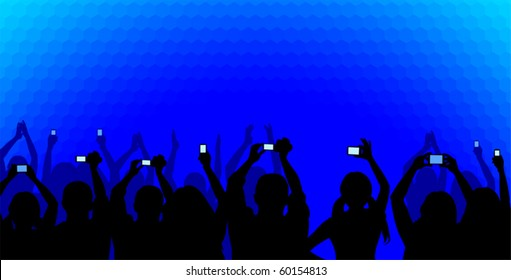 Excited youngsters attending some show, applauding and taking videos, viewed as silhouettes on a blue cellular background. No gradients used.
