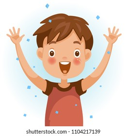 Excitement boy. One person in red shirt raising hands. The face is smiling and open with a very excited mood. Feeling very happy children. Vector illustration isolated white background.