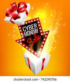 An exciting Cyber Monday Sale arrow sign exploding out of a gift box with a red ribbon bow design