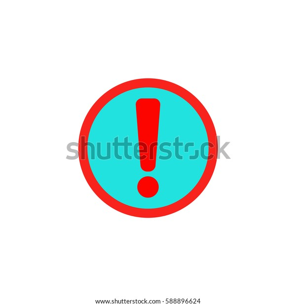 Exclamation mark. Color symbol icon on white background. Vector illustration