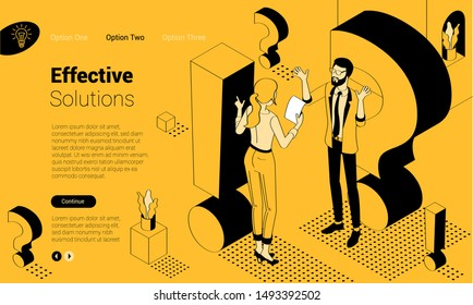 Exclamation mark. Flat design isometric vector illustration of young man and woman with alert sign. Exclamation mark, answer for question, alert, warning and notification.