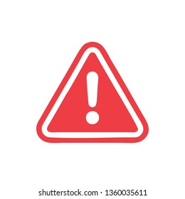 Exclamation mark icon in flat style. Caution risk business concept, Danger alarm vector illustration on white isolated background.
