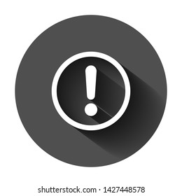 Exclamation mark icon in flat style. Danger alarm vector illustration on black round background with long shadow. Caution risk business concept.