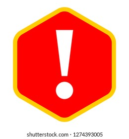 Exclamation mark icon warning sign attention button in red hexagon shape created in flat style. The design graphic element is saved as a vector illustration in the EPS file format.