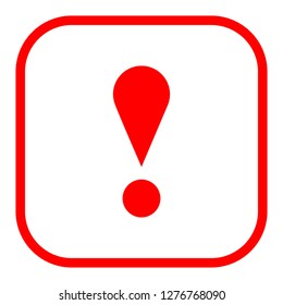 Exclamation mark icon warning sign attention button in red square shape created in thin line style. The design graphic element is saved as a vector illustration in the EPS file format.