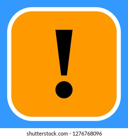 Exclamation mark icon warning sign attention button in orange square shape created in flat style. The design graphic element is saved as a vector illustration in the EPS file format.