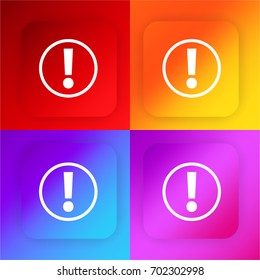 Exclamation mark inside a circle four color gradient app icon set