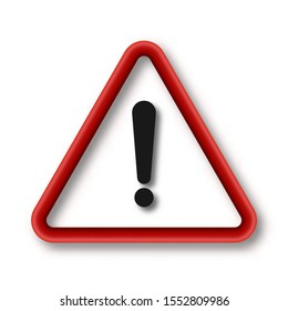 Exclamation mark isolated. Color vector Attention caution sign. Warning symbol with shadow.