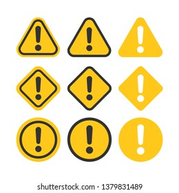 Exclamation mark set icons in flat style. Danger alarm collection vector illustration on white isolated background. Caution risk business concept.