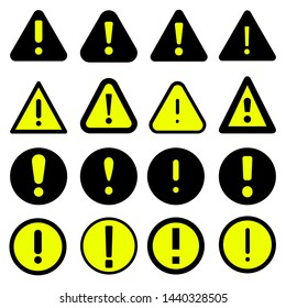 Exclamation mark set icons vector. Danger alarm collection illustration . Caution risk business concept.