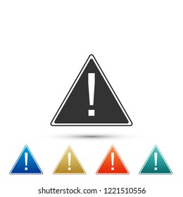 Exclamation mark in triangle icon isolated on white background. Hazard warning sign, careful, attention, danger warning information sign. Set elements in colored icon. Flat design. Vector Illustration