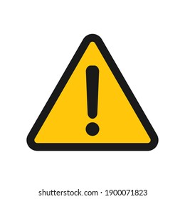 Exclamation mark vector icon. Warning and caution yellow triangle sign. Danger and error logo symbol. Application and web interface image. Clip-art silhouette.