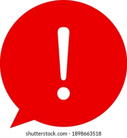 Exclamation mark for warning or attention vector icon in red chat bubble with shadow on transparent background
