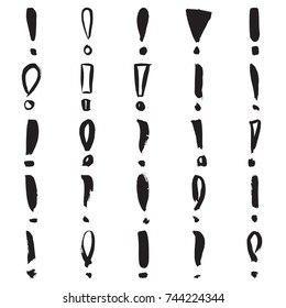 Exclamation marks. Collection of 25 hand painted marks isolated on a white background. Vector illustration