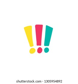 Exclamation marks hand drawn multicolor illustration