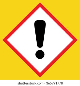 Exclamation point black sign. Hazard attention post icon on white background in a red rhombus, isolated on a yellow. Symbol of warning, caution, danger or risk. Flat style. Stock vector illustration