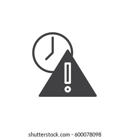 Exclamation point and clock icon vector, filled flat sign, solid pictogram isolated on white. Expired symbol, logo illustration. Pixel perfect