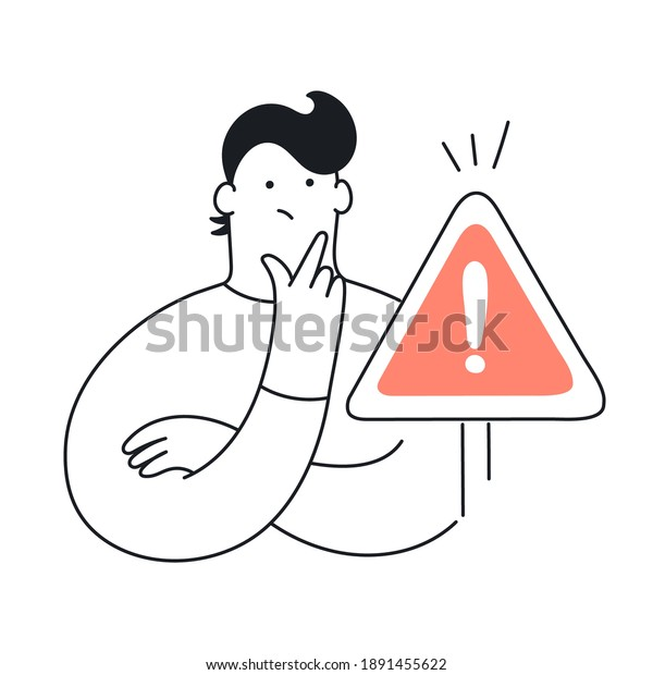 Exclamation point, error, warning, limitation, and cute man. A pensive man stands at the exclamation mark. Error, warning, limitation. Flat line elegant vector illustration on white
