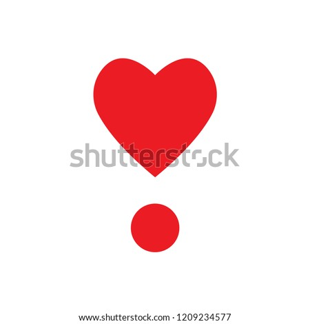 Exclamation Point Heart Emoji Vector Stock Vector Royalty Free