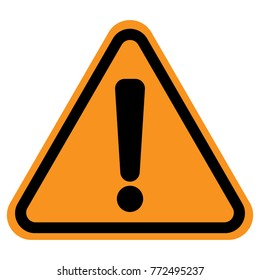 Exclamation point sign in triangle with yellow background. Vector icon.