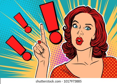 Exclamation point and surprised pop art woman. Pop art retro vector illustration