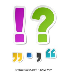 Exclamation and question mark stickers. Vector.