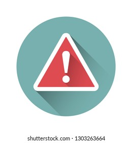 Exclamation sign, danger sign in a flat design. Vector illustration.