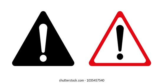 Exclamation sign, Danger Warning, Isolated, Caution icon Warning symbol, red, black and white