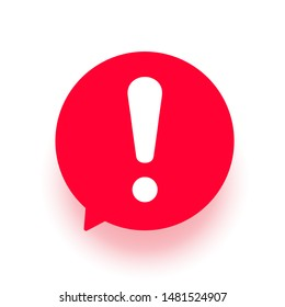Exclamation vector icon, attention logo warning speech bubble, red sign illustration isolated on white.