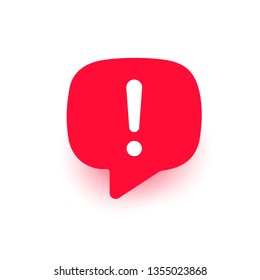Exclamation vector icon, important mark, attention logo, warning speech bubble, red stop sign, illustration with shadow isolated on white
