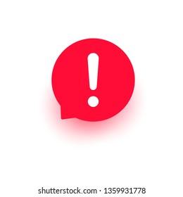 Ausrufevektor-Symbol, wichtige runde Markierung, Aufmerksamkeit-Logo-Warnblase, rote Zeichengrafik einzeln auf Weiß.