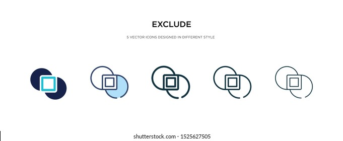 exclude icon in different style vector illustration. two colored and black exclude vector icons designed in filled, outline, line and stroke style can be used for web, mobile, ui