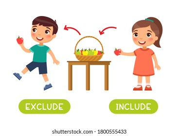 Exclude and include antonyms word card vector template. Opposites concept. Flashcard for english language learning. Girl puts the apple in the basket, the boy takes the apple from the basket.