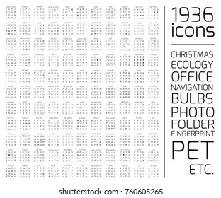 Exclusive 1936 thin line icons set. Big package of modern minimalistic pictograms for mobile UI or UX kit, infographics and web sites. High quality office, pet, photo, bulb and other signs