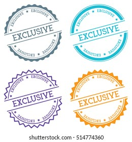 Exclusive badge isolated on white background. Flat style round label with text. Circular emblem vector illustration.