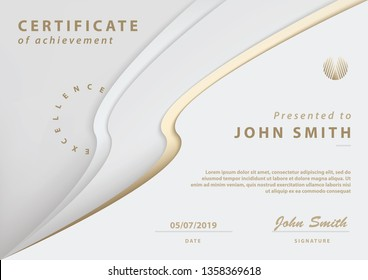 Exclusive Certificate of Achievement with Abstract Cream and Gold Design