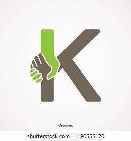 Exclusive Classic Typography handshake K Letter and k letter Combine Logo Emblem Monogram