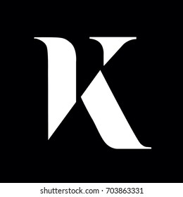 Exclusive Classic Typography K Letter and V letter Combine Logo Emblem Monogram