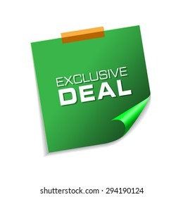 Exclusive Deal Green Sticky Notes Vector Icon Design